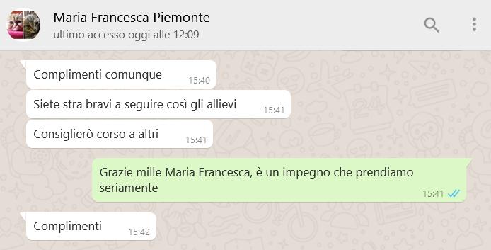 Recensione MARIA FRANCESCA PIEMONTE con risp